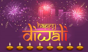 Stylish text Happy Diwali with illuminated lit lamps on firework