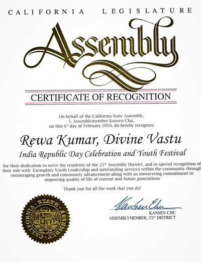California-Legislature-Assembly-Certificate-of-Recognition-to-Rewa-Kumar-on-India-Republic-Day-Celebration-2016
