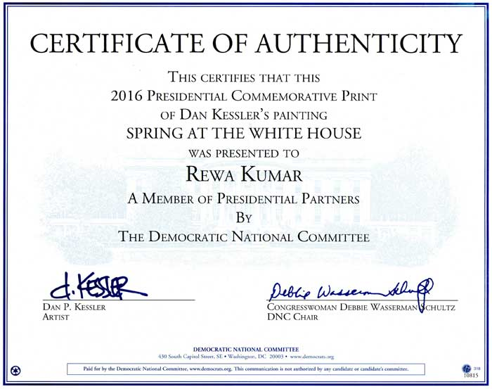 Certificate-of-Authenticity-2016-Commemorative-Presidential-Print-presented-to-Rewa-Kumar