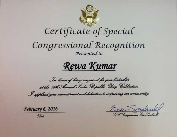 Certificate-of-Special-US-Congressional-Recognition-to-Rewa-Kumar-on-India-Republic-Day-Celebration-2016